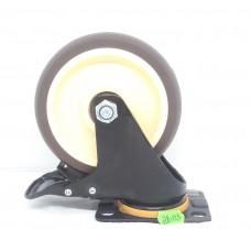 Колеса Колеса на площадке поворотная кремо-коричневая с тормозом AB-125  (ЯЩИК 30(120КГ