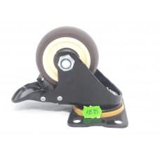 Колеса Колеса на площадке поворотная кремо-коричневая с тормозом AB-75  (ЯЩИК 50(100КГ