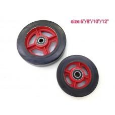 Колеса для тачек тяжелая резиновое с двумя подшипниками 17 красно-черная D-160 430кг
