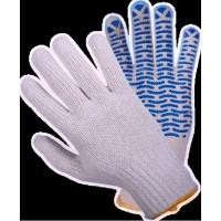 Перчатки хб белые с синими точками  ВОЛНА  №21-550 (600/12)