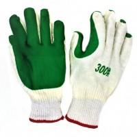 Перчатки хб зелёные залитая пена №А1554 12пар в уп. (360)
