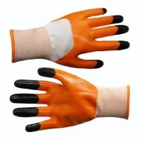 Перчатки  оранжевые стрейч залита краска №А273-1 12пар в уп. (600)